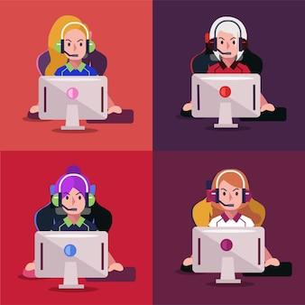 ビデオゲームで遊ぶプロの女の子ゲーマーのセット