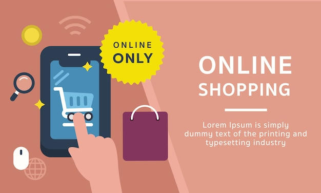 オンラインショッピングのアイコンテンプレートバナー