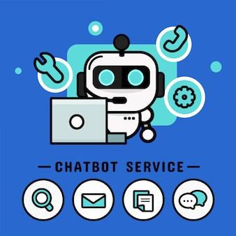 ヘッドフォンでチャットボット。コールセンターのベクトル、モダンなベクターデザイン