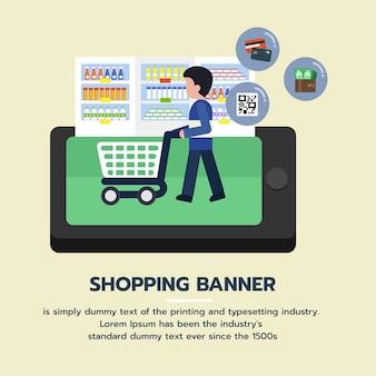 Интернет-торговый баннер. люди покупают в супермаркете и покупают продукты из бакалейной лавки
