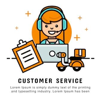 注文および配達サービスを用いる女性オペレータオンラインショッピング。