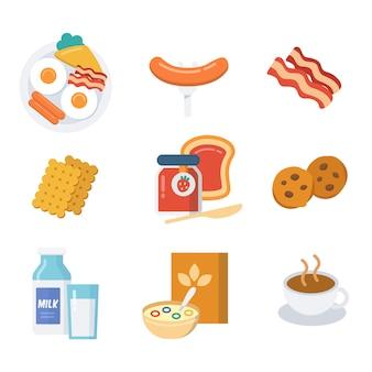 朝食アイコンセット、フラットスタイル、黒と白。