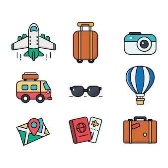 Значок путешествия установлен. плоский стиль использования для интернета и мобильных устройств. большая коллекция