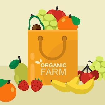 Бумажная хозяйственная сумка со свежими здоровыми фруктами