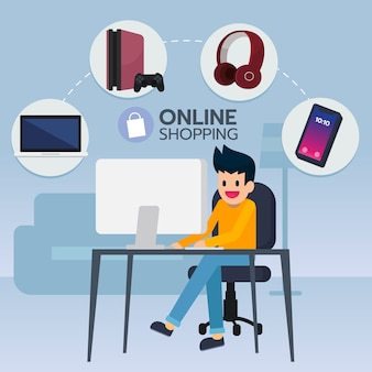 Молодой человек ищет и покупает электронный товар из электронной коммерции