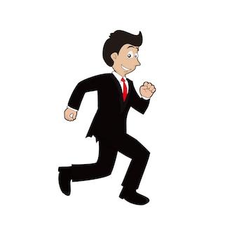 ビジネスマンが走るマスコット