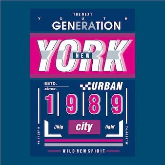 Нью-йорк с изображением линии для футболки с принтом