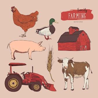 ファームセット。牛、納屋、鶏、穀物、トラクターとアヒルの手描きのイラスト。