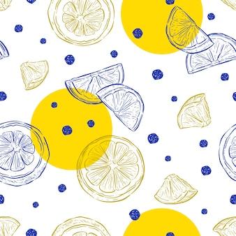 新鮮なレモンの背景、手描き。