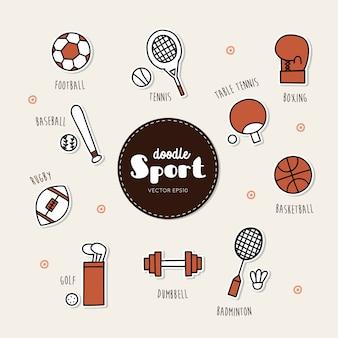 スポーツアイコンのベクトルセット。いたずら書き。