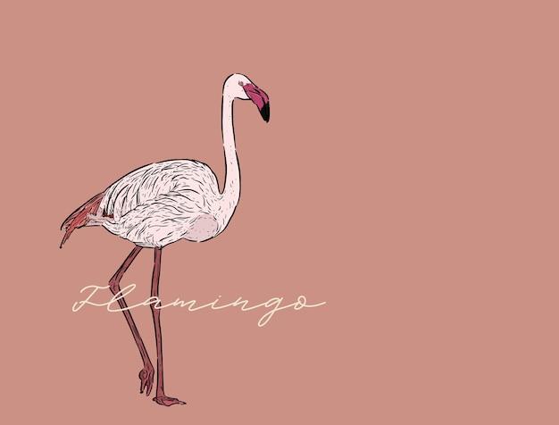 フラミンゴのベクトル図。ラインアートデザイン、彫刻スタイル。アートワークをスケッチ