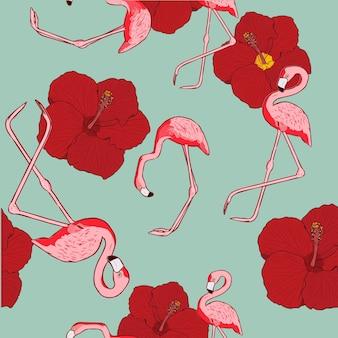 Фламинго птица бесшовные модели