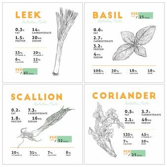 ニラ、バジル、スカリオン、コリアンダーの栄養成分。