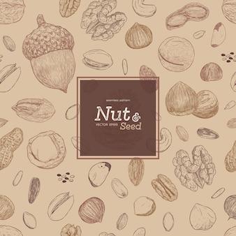ナットと種子のシームレスパターン