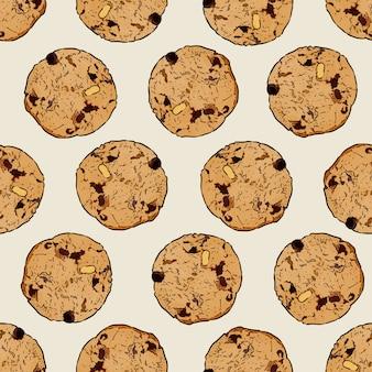 チョコレートチップクッキー、シームレスパターンベクトル。手描きのスケッチのベクトル。