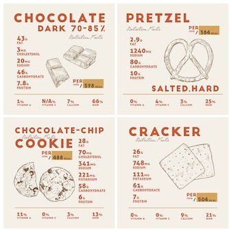 ダークチョコレート、プレッツェル、クッキー、クラッカーの栄養成分表。手描きのスケッチのベクトル。