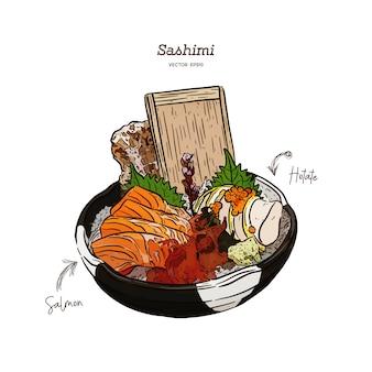 Сашими из лосося и хотэте подают в большой миске со льдом и водорослями. рука рисовать эскиз вектор. японская еда