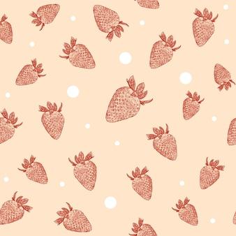 Бесшовный тропический узор с клубникой. вкусные фрукты свежий черный белый эскиз иллюстрации - вектор