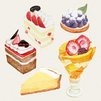 水彩の手描きの甘くておいしいケーキ。ケーキ、タルト、チーズケーキ、パフェ