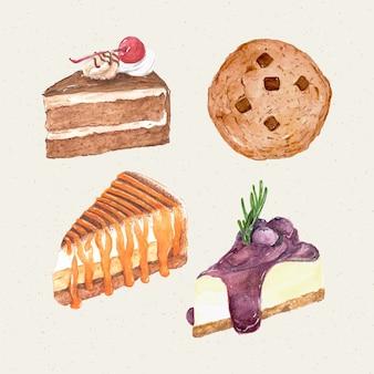 水彩の手描きの甘くておいしいケーキ。ケーキ、クッキー、チーズケーキ、バナフィー。
