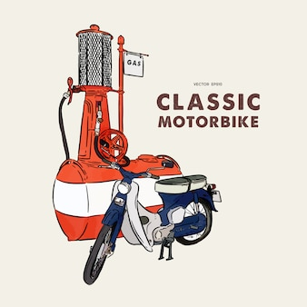 Старинный мотоцикл. рука рисовать эскиз вектор.
