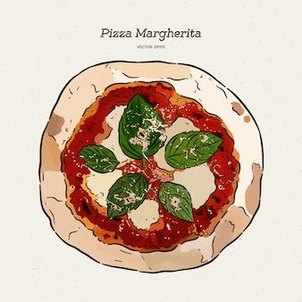 Пицца маргарита, рука рисовать эскиз.