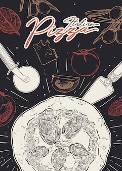 イタリアのピザポスター、手描きスケッチベクトル。