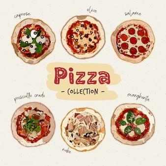 さまざまな食材を使ったピザトップビュー。イタリアの丸ごとピザ。手描きスケッチベクトル。
