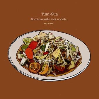 Салат из папайи с рисовой лапшой, тайская еда