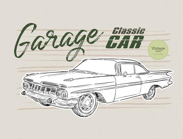 Винтажный классический автомобиль иллюстрация