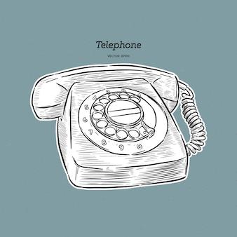 レトロな電話イラスト