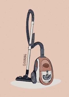 掃除機、手描きスケッチ