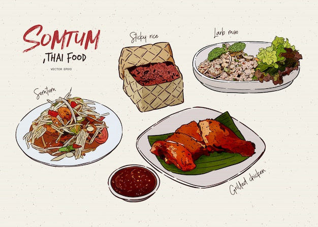 ソムタムコレクション、タイ料理。手描きのスケッチ。