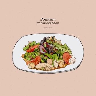 Двор длинных бобов пряный салат тайской уличной еды. рука рисовать эскиз.