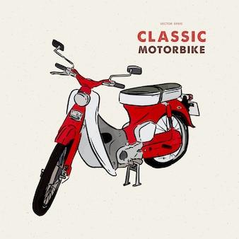 Старинный мотоцикл. рука рисовать эскиз.