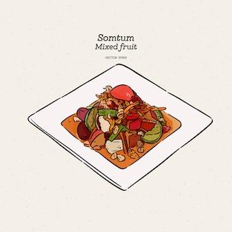 ミックスフルーツスパイシーサラダ(ソムタム)、手描きスケッチ。