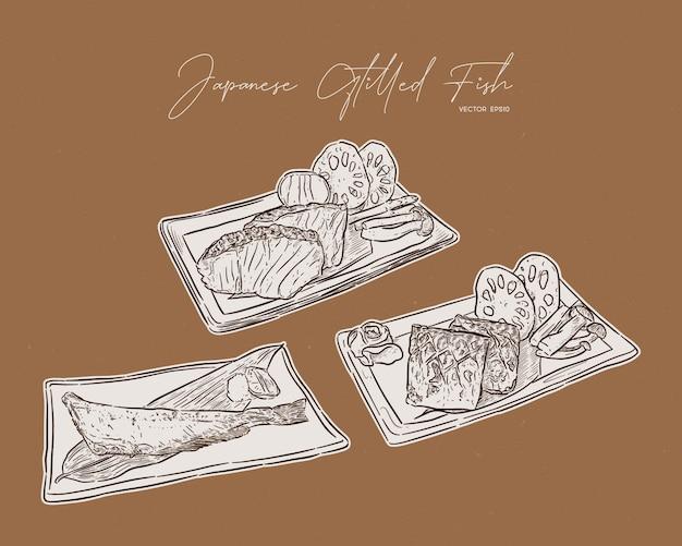 日本の魚のグリルステーキのセット。手描きスケッチ。