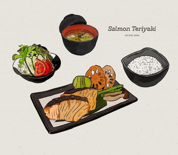 サーモンの照り焼き、日本食。手描きスケッチベクトル。