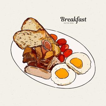 ソーセージ、卵、ハム、トースト、ジャガイモのグリル、ベーコンの朝食プレート。手描きスケッチ