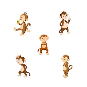 かわいい漫画の猿のベクトル図