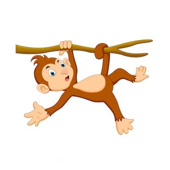 Векторная иллюстрация милый мультфильм обезьяна