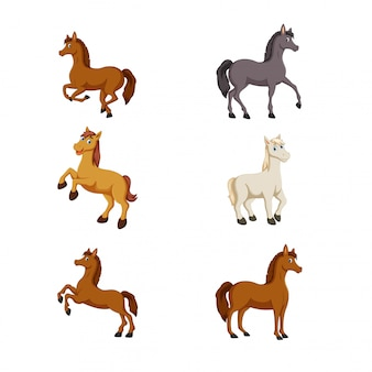 かわいい漫画の馬のベクトル