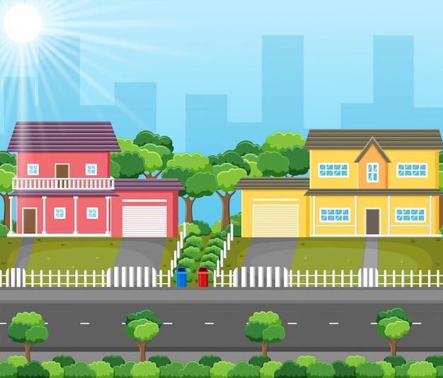 Простая иллюстрация пейзаж дома