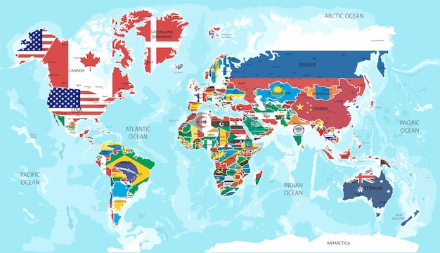 イラスト - すべての国の国旗の世界地図。
