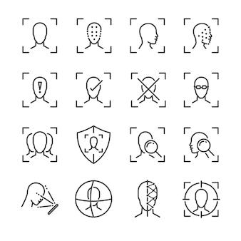 Набор значков линии лица.