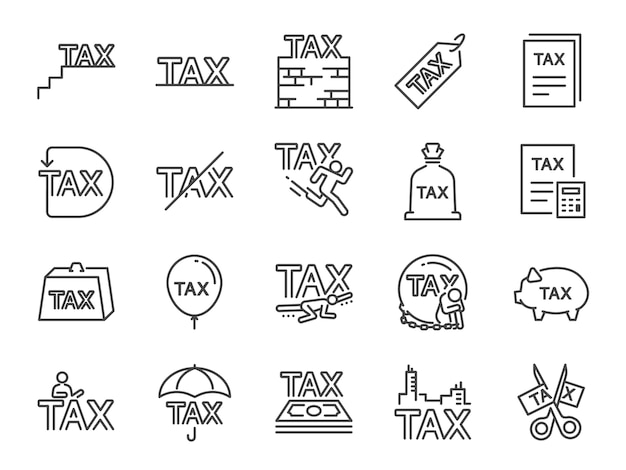Набор значков налогов