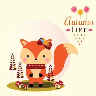 Осенняя лиса с грибами