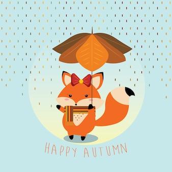 Маленькая лисица, держащая зонтик с листьями