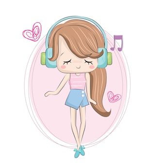 Маленькая девочка, слушая музыку