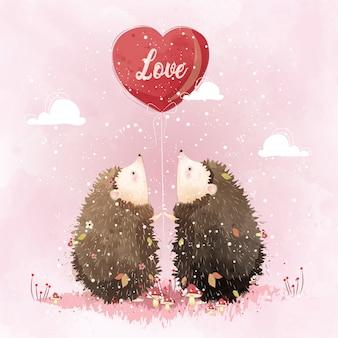 愛のバルーンを保持しているカップルハリネズミ
